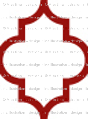quatrefoil dark red on white - small