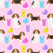 Beagle easter spring marshmallow treats dog breed pet fabric pink