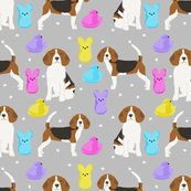 Beagle easter spring marshmallow treats dog breed pet fabric grey
