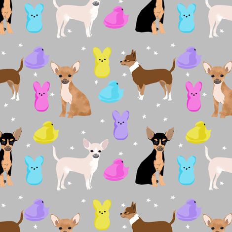 chihuahua easter spring marshmallow treats dog breed pet fabric grey fabric by petfriendly on Spoonflower - custom fabric