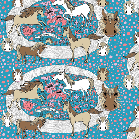 all the pretty horses, large scale fabric by amy_g on Spoonflower - custom fabric