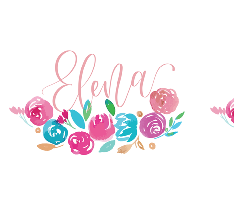 Custom Name Lettering with Watercolors fabric by prettybeautifuldesign on Spoonflower - custom fabric