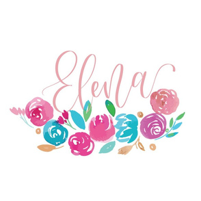 Custom Name Lettering with Watercolors