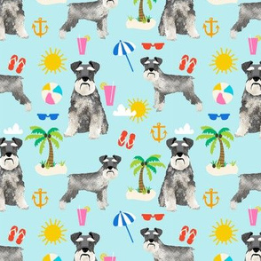 schnauzer beach summer dog breed fabric pet pure breed blue