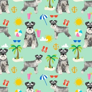 schnauzer beach summer dog breed fabric pet pure breed mint