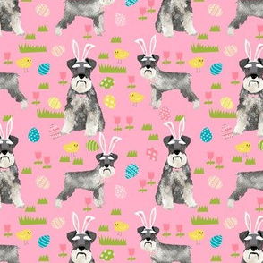 schnauzer easter spring easter eggs dog breed pet fabric pink