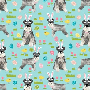 schnauzer easter spring easter eggs dog breed pet fabric mint