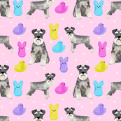 schnauzer easter spring marshmallow treats dog breed pet fabric purple