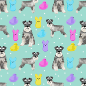 schnauzer easter spring marshmallow treats dog breed pet fabric blue