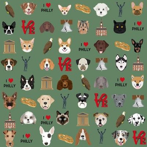 Philadelphia dogs - dogs and philly print - green
