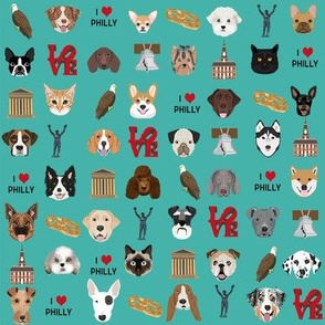 Philadelphia dogs - dogs and philly print - turquoise