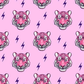 tiger with bolts (pink on pink)