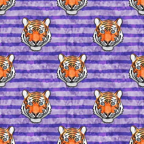 tiger face - purple stripes fabric by littlearrowdesign on Spoonflower - custom fabric
