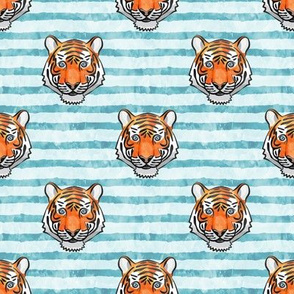 tiger on stripes (light blue)