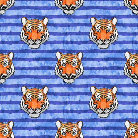 tiger on blue stripes fabric by littlearrowdesign on Spoonflower - custom fabric