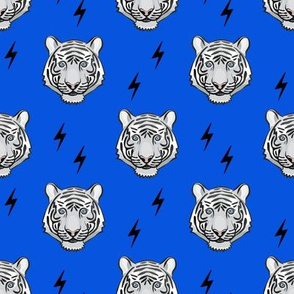 white tiger - blue with bolts