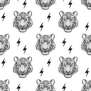 white tiger  with bolts