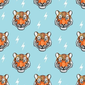 tiger with bolts on blue
