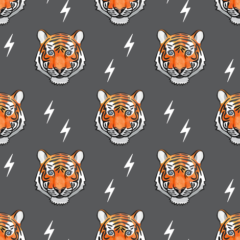 tigers on grey with bolts fabric by littlearrowdesign on Spoonflower - custom fabric