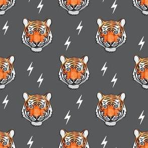 tigers on grey with bolts