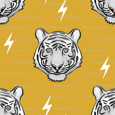 white tiger - mustard with bolts