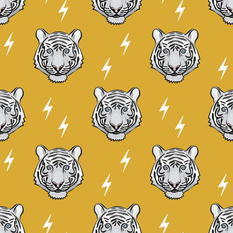 white tiger - mustard with bolts fabric by littlearrowdesign on Spoonflower - custom fabric