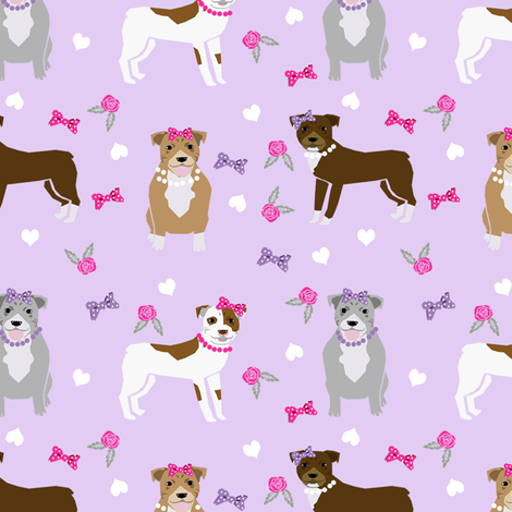 pitbull dog fabric - bows and pearls, roses and florals - purple fabric by petfriendly on Spoonflower - custom fabric