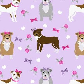 pitbull dog fabric - bows and pearls, roses and florals - purple