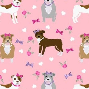 pitbull dog fabric - bows and pearls, roses and florals - pink