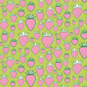 Strawberries in pink and lime