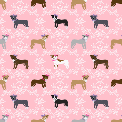 pitbull dog fabric - bows and pearls, roses and florals - pink fabric by petfriendly on Spoonflower - custom fabric