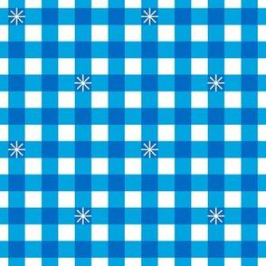 Stitched Gingham* (Midi Sky) || jumbo check star starburst stitching needlework checkerboard spring summer 70s retro vintage bright blue