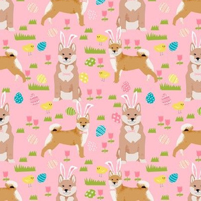 shiba inu spring easter eggs bunny dog breed fabric pink
