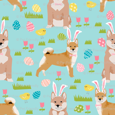 shiba inu spring easter eggs bunny dog breed fabric mint