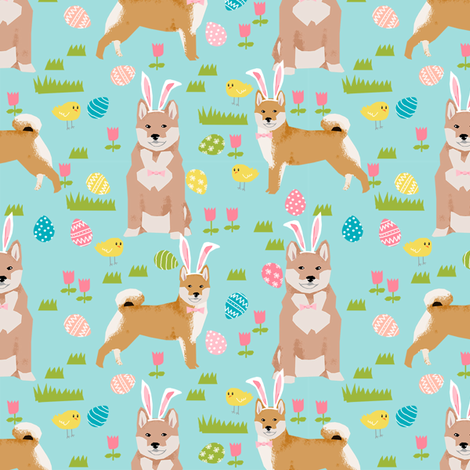 shiba inu spring easter eggs bunny dog breed fabric mint fabric by petfriendly on Spoonflower - custom fabric