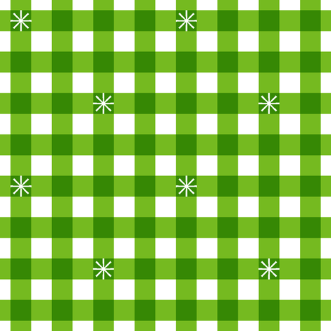 Stitched Gingham* (Midi Grass)    jumbo check star starburst stitching needlework checkerboard spring summer 70s retro vintage Kelly green fabric by pennycandy on Spoonflower - custom fabric