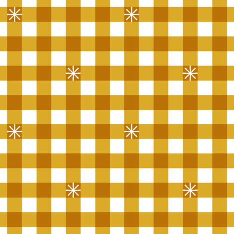 Stitched Gingham* (Midi Gold Marilyn) || jumbo check star starburst stitching needlework checkerboard spring summer 70s retro vintage mustard fabric by pennycandy on Spoonflower - custom fabric