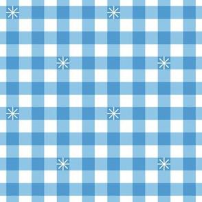 Stitched Gingham* (Midi Sailor) || jumbo check star starburst stitching needlework checkerboard spring summer 70s retro vintage blue pastel