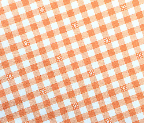 Stitched Gingham* (Midi Peach Halves) || jumbo check star starburst stitching needlework checkerboard spring summer 70s retro vintage coral blush