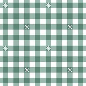 Stitched Gingham* (Midi Camouflage)    jumbo check star starburst stitching needlework checkerboard spring summer 70s retro vintage