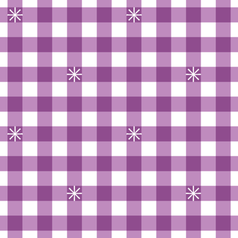 Stitched Gingham* (Midi Lavender Disaster) || jumbo check star starburst stitching needlework checkerboard spring summer 70s retro vintage fabric by pennycandy on Spoonflower - custom fabric