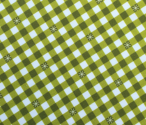 Stitched Gingham* (Midi Split Pea Soup) || jumbo check star starburst stitching needlework checkerboard spring summer 70s retro vintage olive green