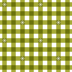 Stitched Gingham* (Midi Split Pea Soup) || jumbo check star starburst stitching needlework checkerboard spring summer 70s retro vintage olive green