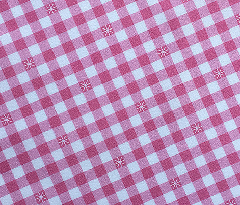 Stitched Gingham* (Large-Scale Pink Cow) || jumbo check star starburst stitching needlework checkerboard spring summer 70s retro vintage pastel green