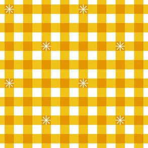 Stitched Gingham* (Large-Scale Velvet Banana) || check star starburst stitching needlework checkerboard spring summer 70s retro vintage yellow mustard