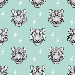 white tiger with bolts -  dark mint
