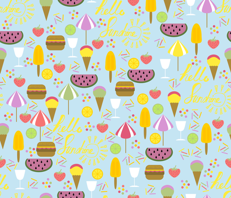 hello summer fabric by craftwithcartwright on Spoonflower - custom fabric