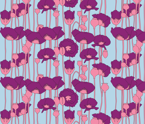 poppies in magenta on light blue fabric by eleventy-five on Spoonflower - custom fabric