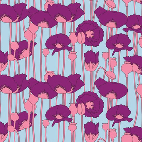 poppies in magenta on light blue