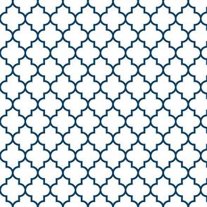 quatrefoil MED navy blue on white